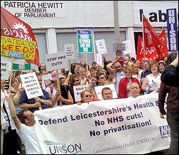 Protesting health workers and patients in Leicester