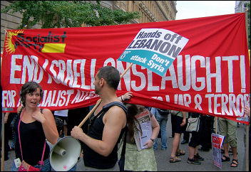 Socialist Party banner on the anti-war demo
