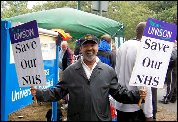 WORKERS AT Whipps Cross hospital in east London on strike