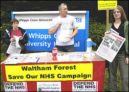 Waltham Forest Save our NHS campaign stall
