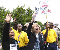 Whipps Cross Hospital workers demonstrate