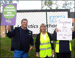 ABOUT 60 UNISON members manned a picket at the NHS Logistics base in Runcorn