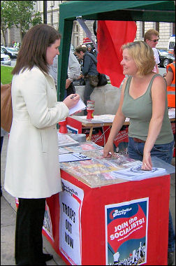 One of the Socialist Party stalls in Parliament Square protesting against George W Bush