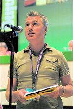 Glenn Kelly addresses Unison conference 2008, photo Paul Mattsson