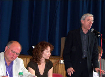John McInally, vice-president PCS, speaking at the Campaign for a New Workers' Party debate 2008, photo Socialist Party