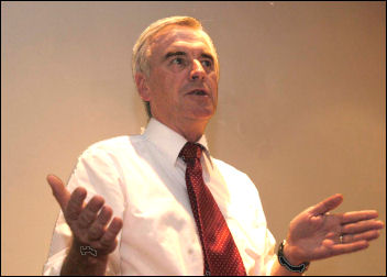 John McDonnell MP speaking at a CNWP meeting in 2006, photo Paul Mattsson