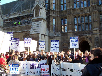 House of Commons Cleaners on strike in 2005, photo Chris Newby