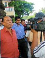 Siritunga outside the Ministry of Health in Colombo, photo by CWI