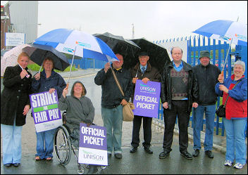 Unison Local Government strike on 16-17 July in Knowsley, photo by R Bannister