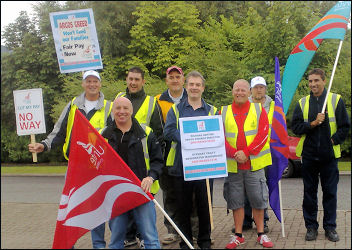 Argos workers in the Unite union on a 24-hour strike, photo Leicester Socialist Party