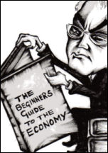 Alistair Darling reads the beginners guide to the economy, cartoon by Suz