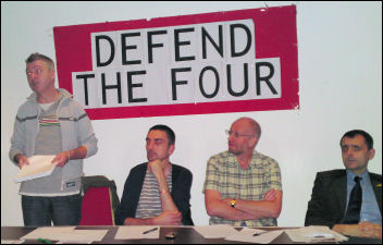 Hackeny Defend the Four meeting addressed by Glenn Kelly, photo Hackney Socialist Party