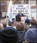 After a mass picket at Staythorpe power station contruction workers marched into Newark town centre