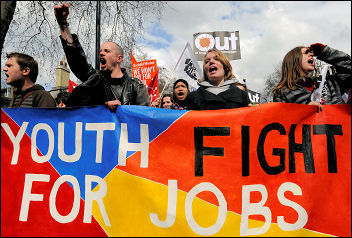 Youth Fight for Jobs and NO2EU on the 'Put People First' demo against the G20 in 2009, photo Paul Mattsson