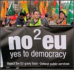 No2EU banner on protest against the G20, photo by Paul Mattsson