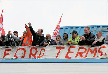 Visteon workers occupied their plant last year, photo Paul Mattsson