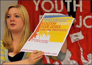 Jacqui Berry chairs the rally at Youth Fight For Jobs Conference 2009, photo Paul Mattsson