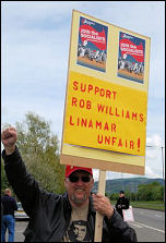 Limamar workers support sacked covneor Rob Williams , photo Sarah Mayo