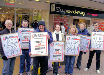 Anti-BNP Socialist Party protest in Barnsley, photo by Yorkshire Socialist Party