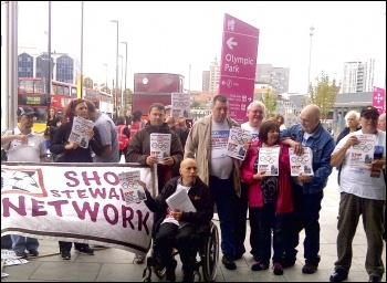 Remploy workers protest at the closure of Remploy factories on the first day of the 2012 Paralympics in London