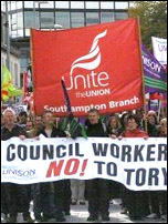 Southampton council workers on strike 6.10.11 , photo by Nick Chaffey