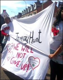 Opposing the closure of the children's heart unit at Glenfield hospital, photo by Steve Score