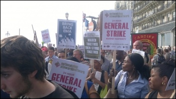 Sept 9th 2012 NSSN lobby of TUC for a one day strike against austerity, photo by Arti Dillon