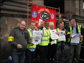 ISS picket line at Newcastle Central Station, 10.9.12, photo Elaine Brunskill