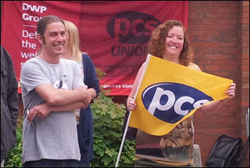 DWP group president Fran Heathcote (with flag) at Leeds Remploy picket line, 26.7.12, photo by K Williams