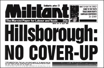 Militant newspaper 21 April 1989 issue 941, on the Hillsborough disaster