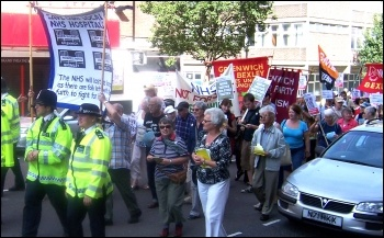 Marching through Woolwich against PFI cuts to the Queen Elizabeth hospital, part of the South London Health Trust which has gone into administration, photo R Shrives