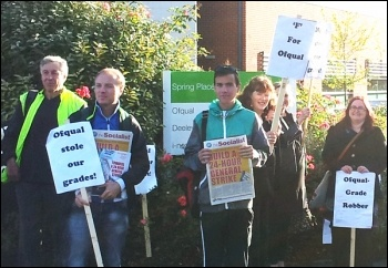 Protest against Ofqual in Coventry by NUT members and fellow trade unionists, photo D Nellist