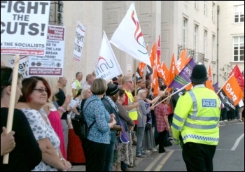 Waltham Forest protest, one of many protests outside Labour-run councils who pass Con-Dem austerity measures. , photo Senan