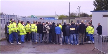 Mass meeting of Sita UK bin workers in Doncaster discussing pay offer, photo by Alistair Tice