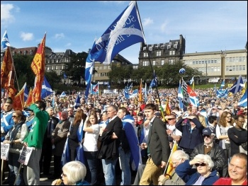 Rallying for a yes vote in Edinburgh as thousands march for an independent Scotland, photo by M Dobson