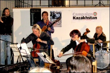 Cellorhymics in concert at the Campaign Kazakhstan event, London 2 October 2012, photo Keith Dickinson