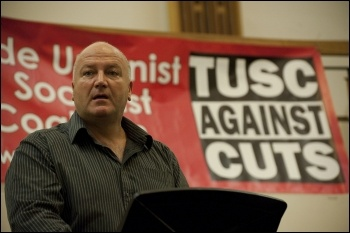 Bob Crow, RMT general secretary, addresses the London Trade Unionist and Socialist Coalition (TUSC) launch meeting 2012, photo Paul Mattsson