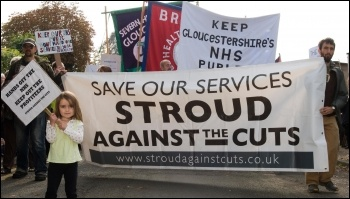 Save our services: Stroud against the cuts fighting against NHS cuts, photo Gloucestershire Socialist Party