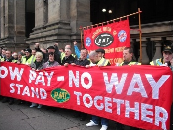 RMT cleaners at Churchill and ISS taking strike action, photo by Elaine Brunskill
