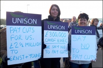Admin staff strike, Mid Yorkshire NHS Trust, 1st November 2012 , photo by Iain Dalton