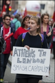 20 October 2012 TUC demo against austerity: from Athens to London - smash capitalism, photo Paul Mattsson