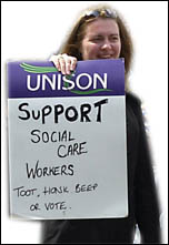 Social care workers on strike in Scotland , photo by Duncan Brown