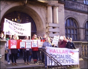 Sheffield Youth Fight for Jobs and Socialist Students lobby Sheffield Town Hall before presenting petitions demanding the Labour Council restore EMA, photo by A Tice