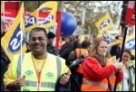 PCS members on the 2012 Oct 20th TUC demo, photo Senan