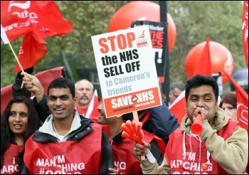 Unite Health members on the 2012 Oct 20th TUC demo, photo Senan
