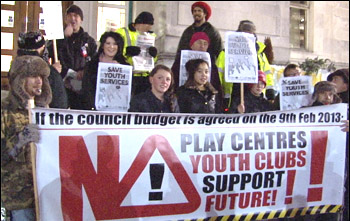 Southampton youth workers and their supporters fight to save youth services from extinction , photo by Socialist Party