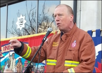 Matt Wrack, FBU geneal secretary,London lobby of fire authority, 21 January 2013, photo Neil Cafferky