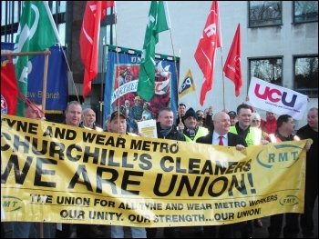 Churchill cleaners from the Tyne & Wear metro have stepped up their battle for a decent living wage. Building on rock-solid strikes over the course of 2012, this most recent strike is for seven days , photo E Brunskill