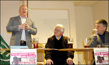 The Eastleigh by-election TUSC rally featured Daz Proctor, Dave Nellist and Keith Morrell, a rebel Southampton councillor who voted against cuts, photo John Gillman