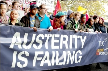 Austerity is failing - banner on the 20 October 2012 TUC demonstration against austerity , photo Paul Mattsson